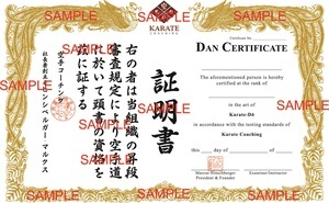 Karate Coaching Dan Certificate Proof