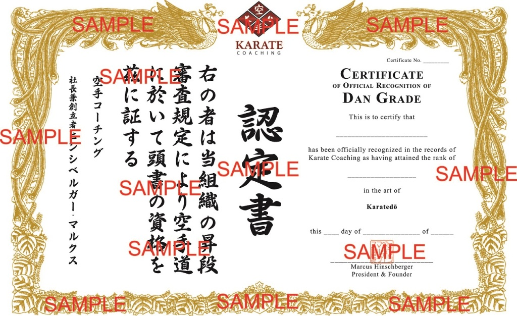 Karate Coaching Dan Recognition Certificate Concept