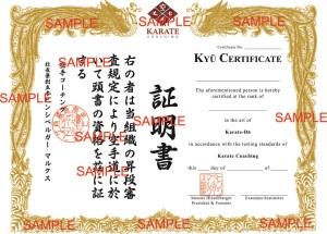 Karate Coaching Kyu Certificate Proof