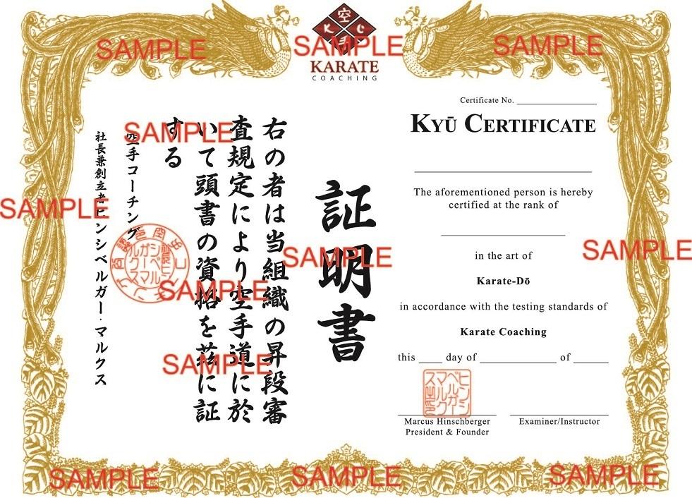 Karatecoaching kyu certificates karatecoaching karate coaching kyu certificate proof yadclub Choice Image